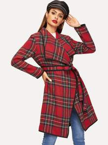 Waist Belted Waterfall Plaid Coat