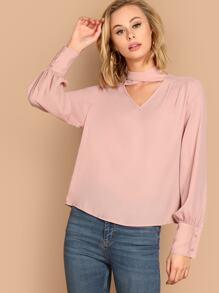 Crisscross Choker Neck Bishop Sleeve Top