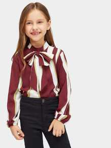 Girls Color-block Tied Blouse