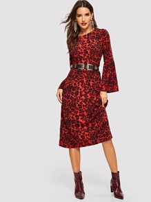Leopard Print Bell Sleeve Dress Without Belted