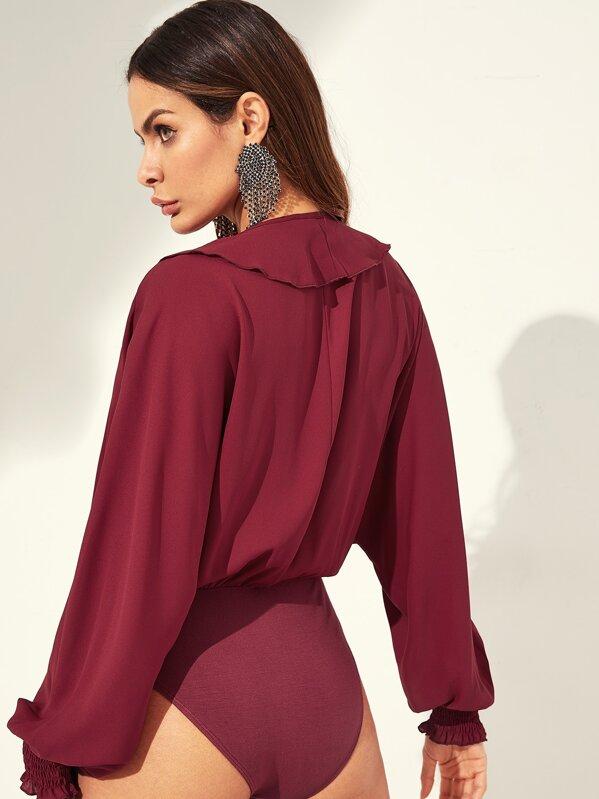 9db0a5c1547d Ruffle Trim Dolman Sleeve Wrap Blouse Bodysuit | SHEIN