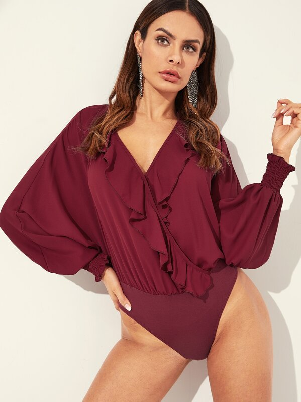 8a4f365f099e Ruffle Trim Dolman Sleeve Wrap Blouse Bodysuit. AddThis Sharing Buttons