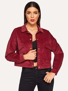 Drop Shoulder Pocket Front Corduroy Jacket