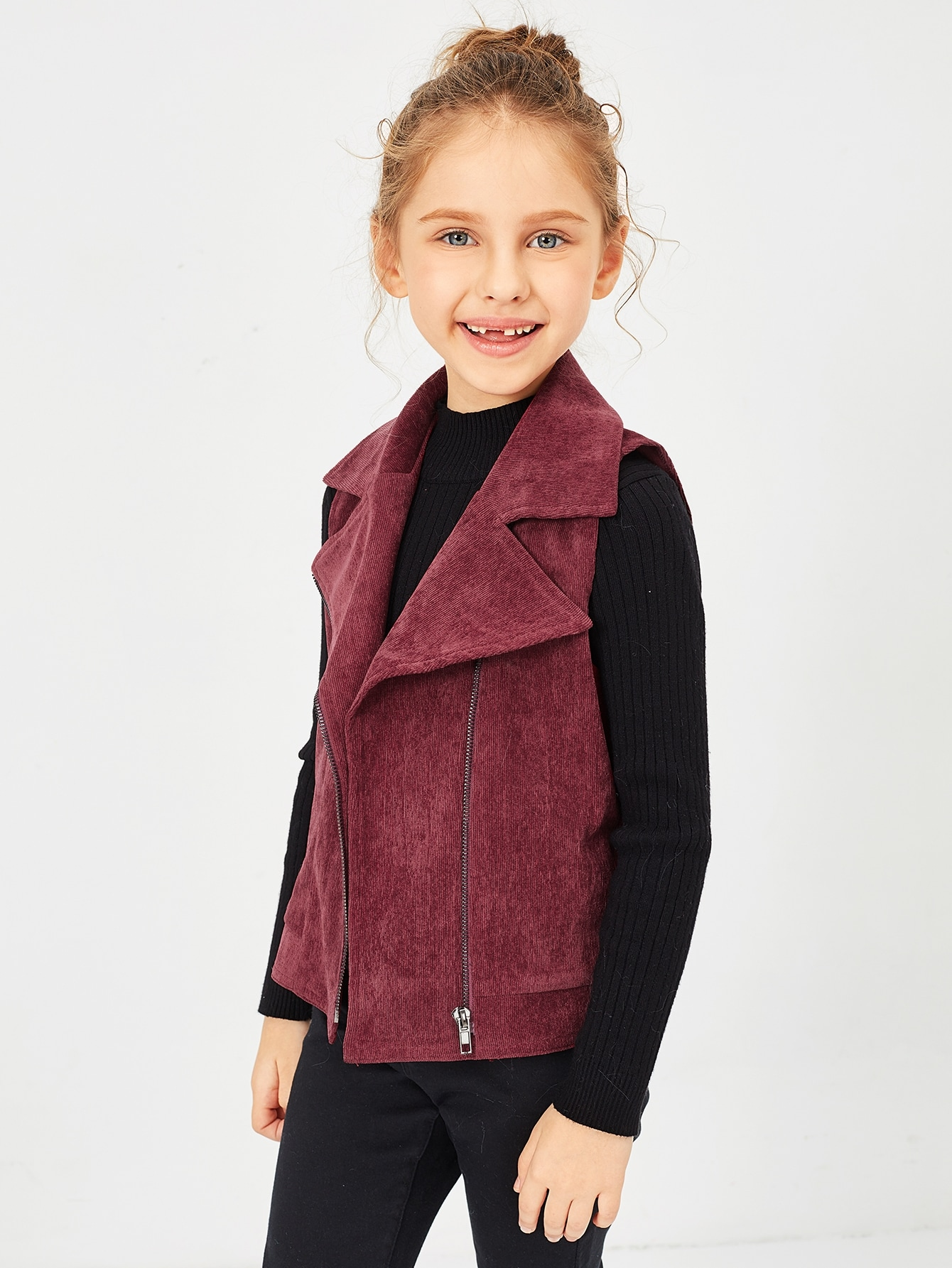 Girls Notch Collar Zip Up Corduroy Vest Girls Notch Collar Zip Up Corduroy Vest