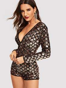 b649ab9bd2 Open Back Geo Sequin Playsuit | SHEIN UK