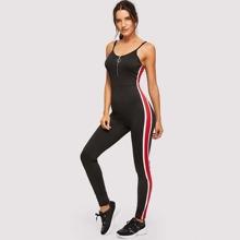 Zip Front Scoop Back Striped Cami Jumpsuit