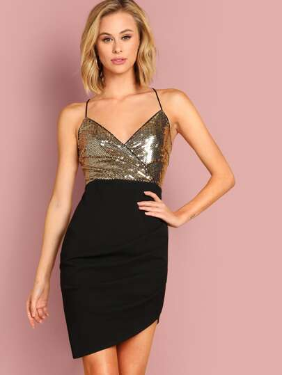 dfbb840448 Contrast Sequin Bodice Crisscross Back Wrap Cami Dress