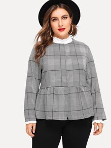 Plus Press Button Up Plaid Coat