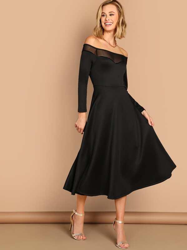 7f19d4f0c6 Mesh Insert Off Shoulder Dress   SHEIN