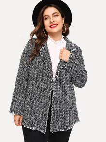 Plus Frayed Trim Tweed Coat