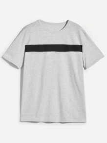 Men Contrast Panel Heather Knit T-shirt