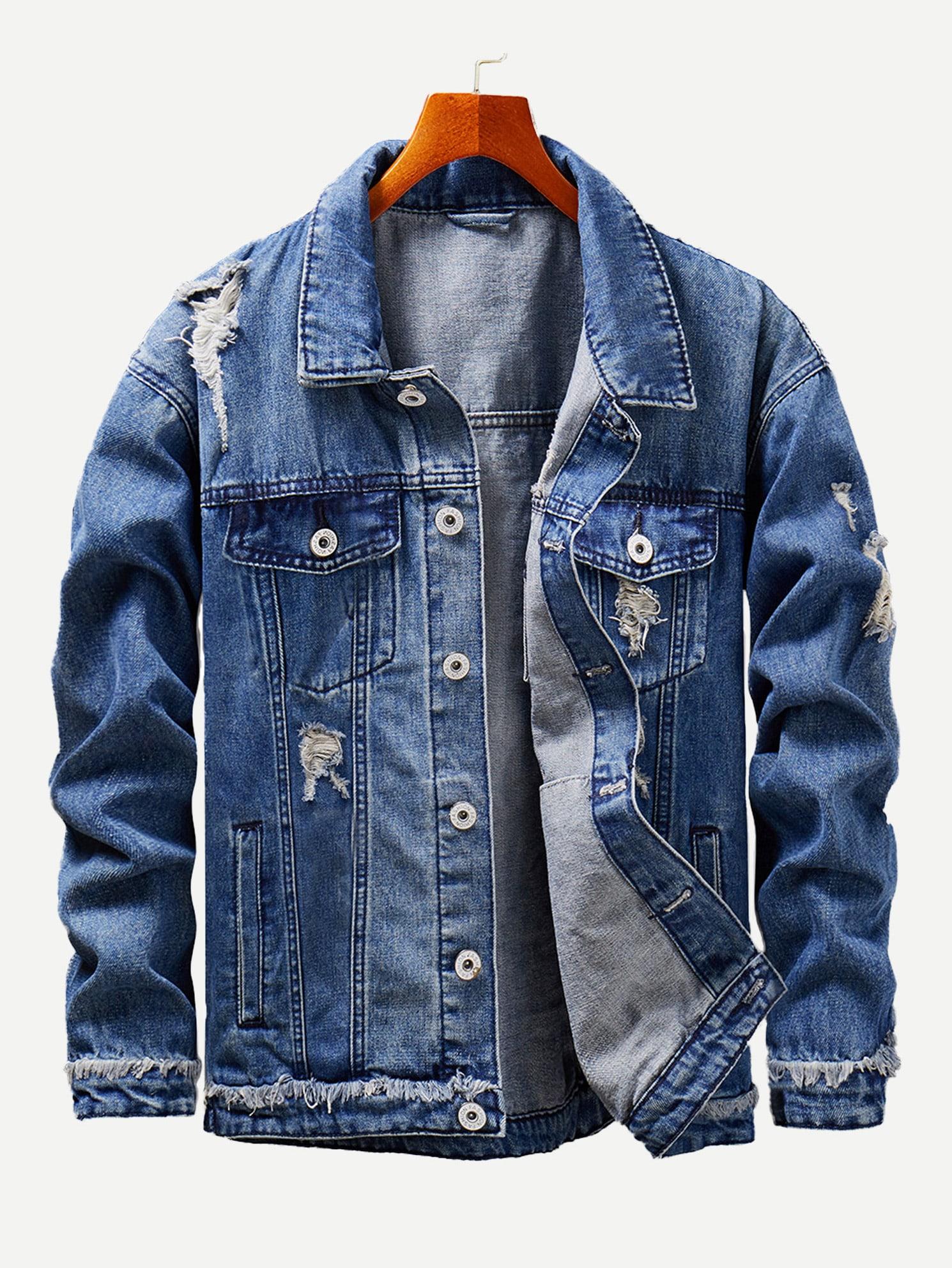 Men Ripped Denim Jacket Men Ripped Denim Jacket