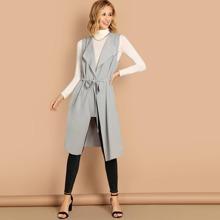 Image of Bow Tie Waist Longline Belted Vest Coat