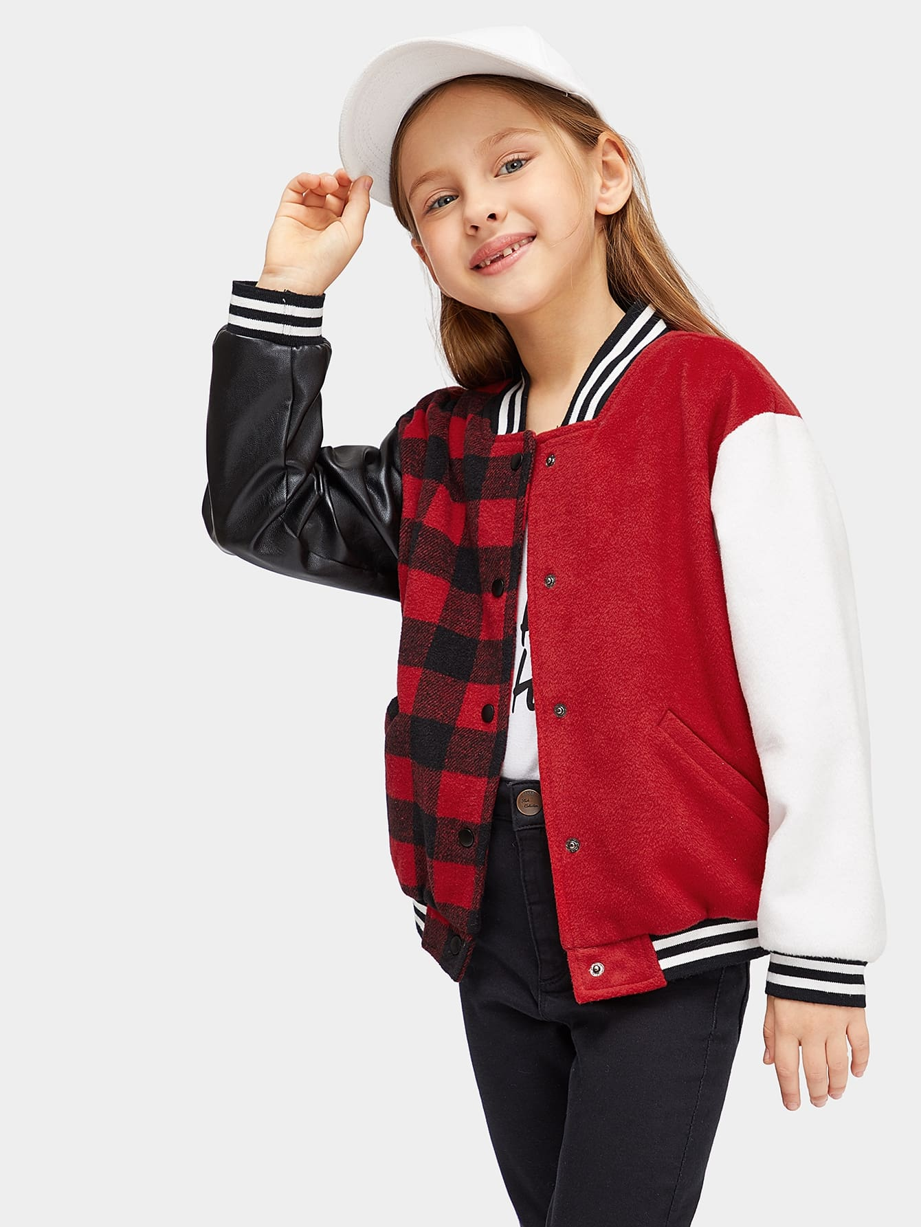 Girls Color Block Mixed Media Baseball Jacket Girls Color Block Mixed Media Baseball Jacket