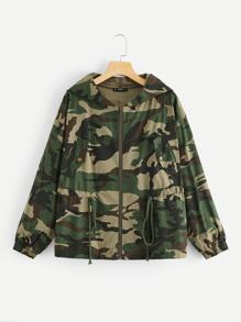 Zip Up Hooded Drawstring Waist Camo Utility Jacket