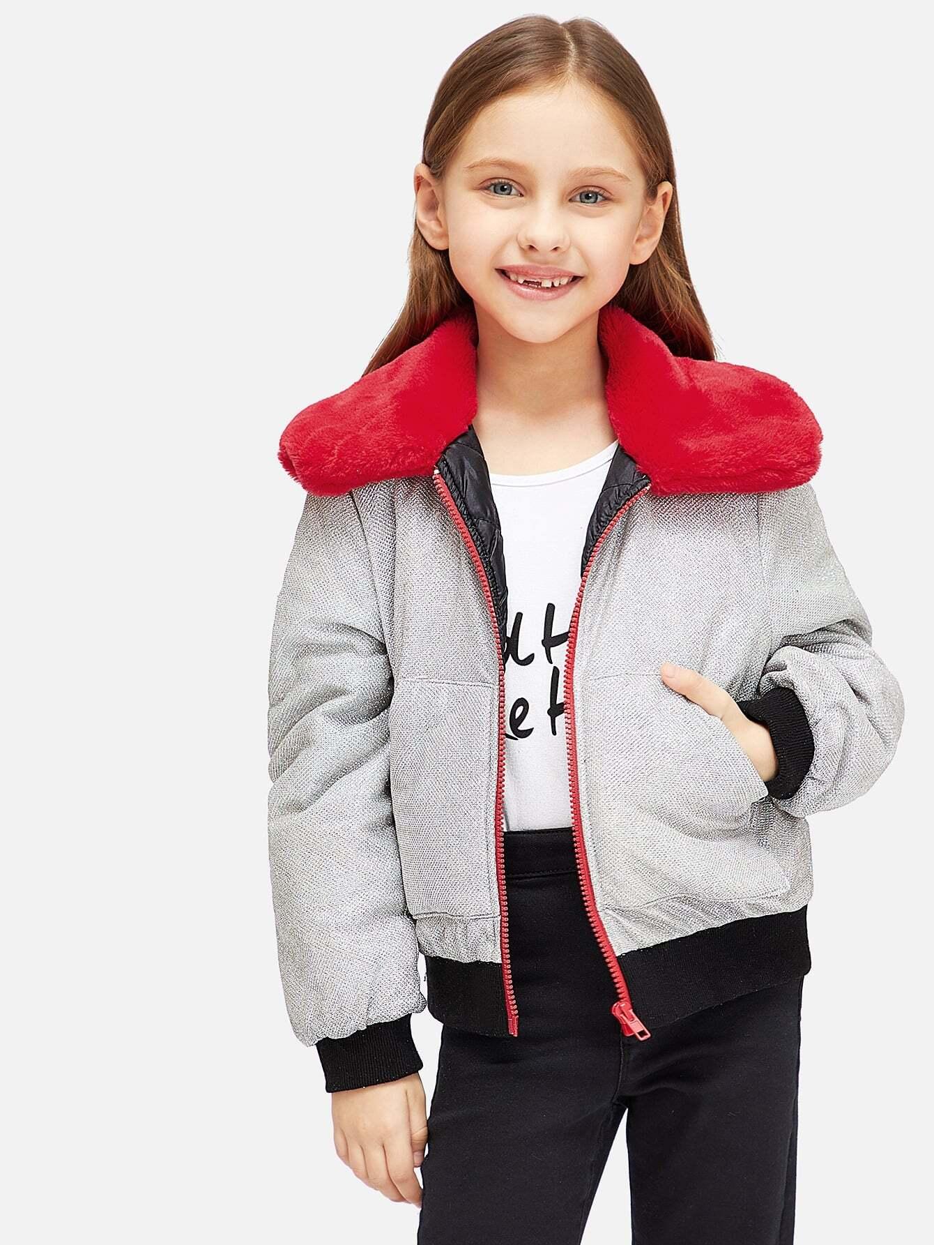 Girls Contrast Collar And Trim Zipper Up Jacket Girls Contrast Collar And Trim Zipper Up Jacket
