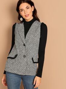 Frayed Trim Tweed Vest Coat