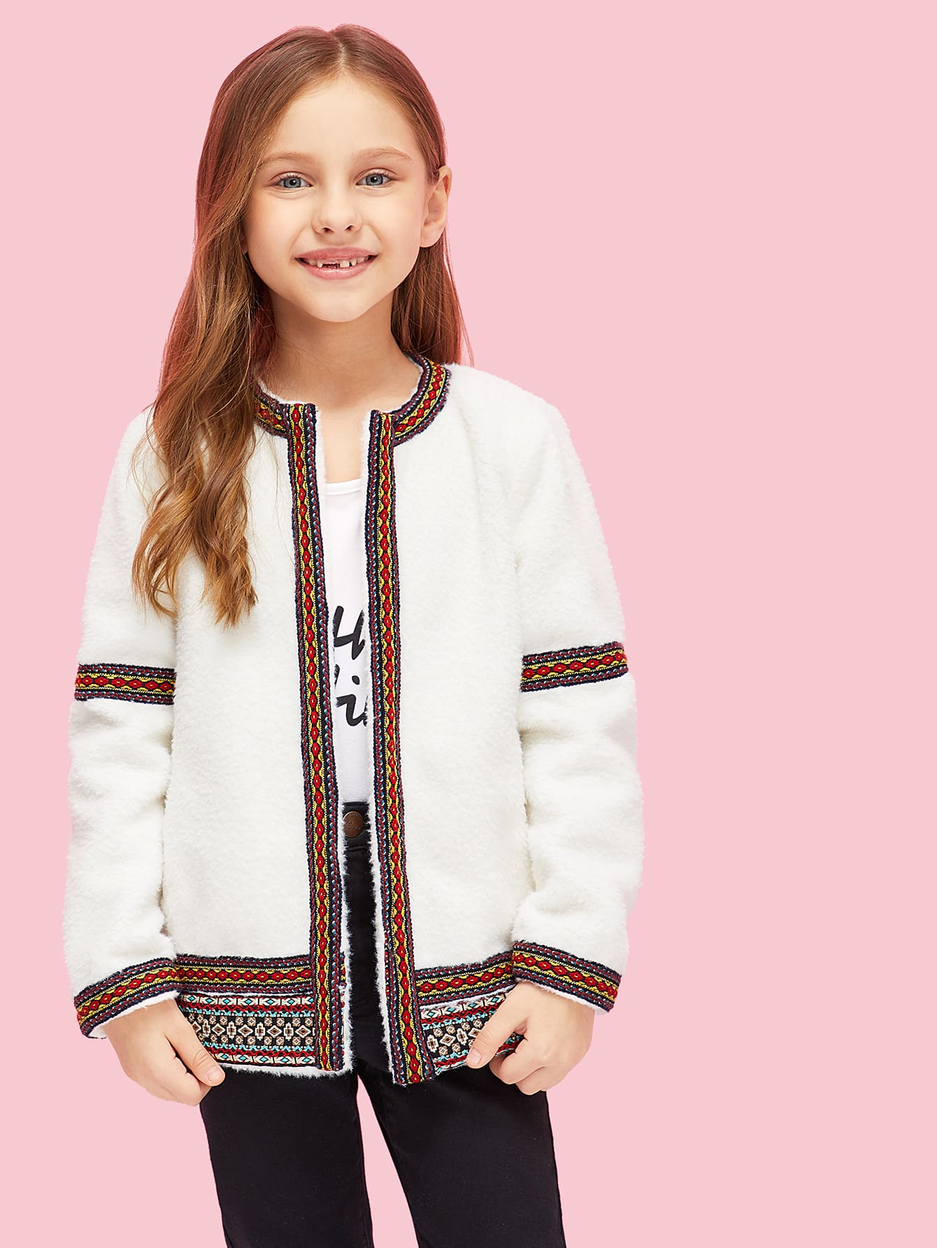 Girls Open Front Embroidered Teddy Coat Girls Open Front Embroidered Teddy Coat