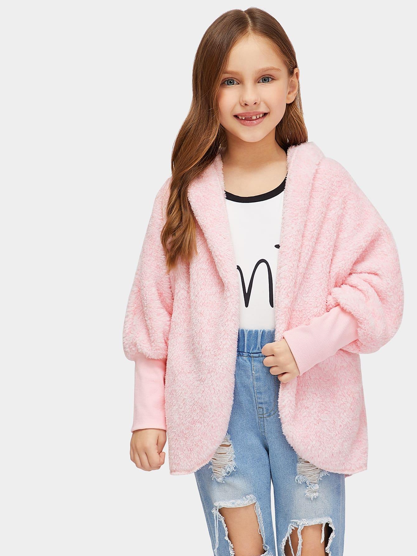 Girls Contrast Elastic Cuff Teddy Hooded Coat Girls Contrast Elastic Cuff Teddy Hooded Coat