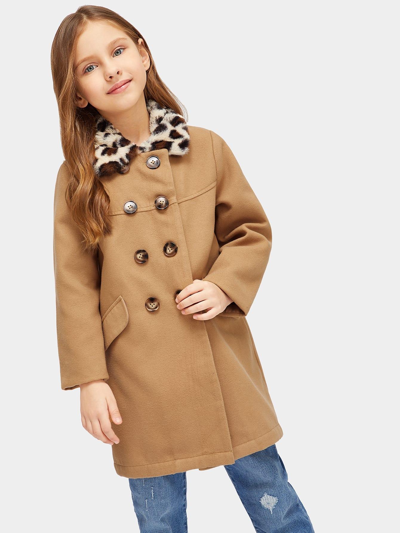 Girls Leopard Faux Fur Collar Double Button coat Girls Leopard Faux Fur Collar Double Button coat
