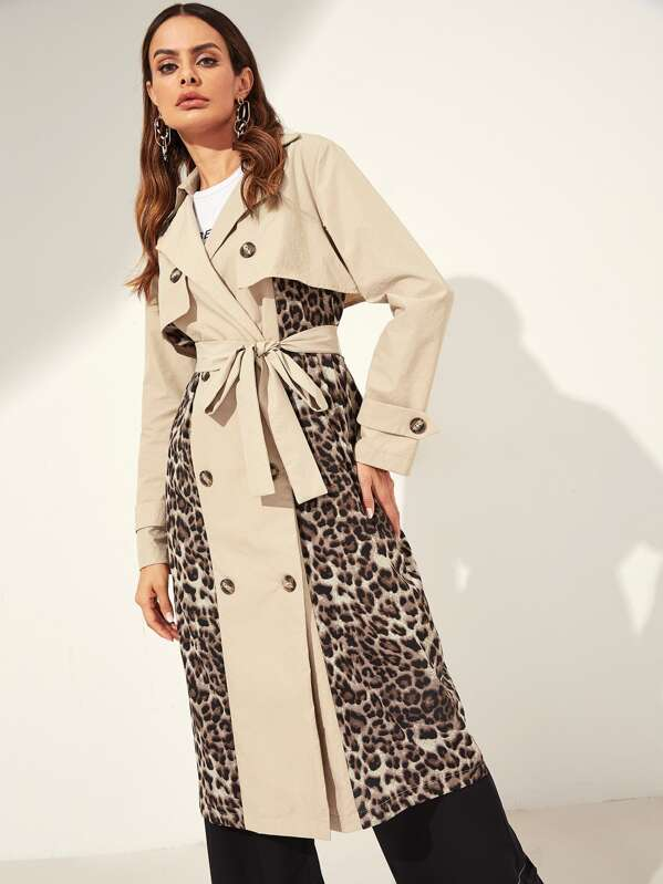 b91ba1488d Double Breasted Belted Leopard Trench Coat
