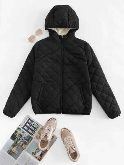 Zipper Quilted Hooded Coat