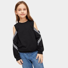 Girls Cold Shoulder Striped Pullover