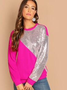 Neon Pink Sequin Patched Cut-and-sew Pullover