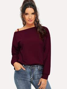 Pearl Beaded Asymmetrical Neck Pullover