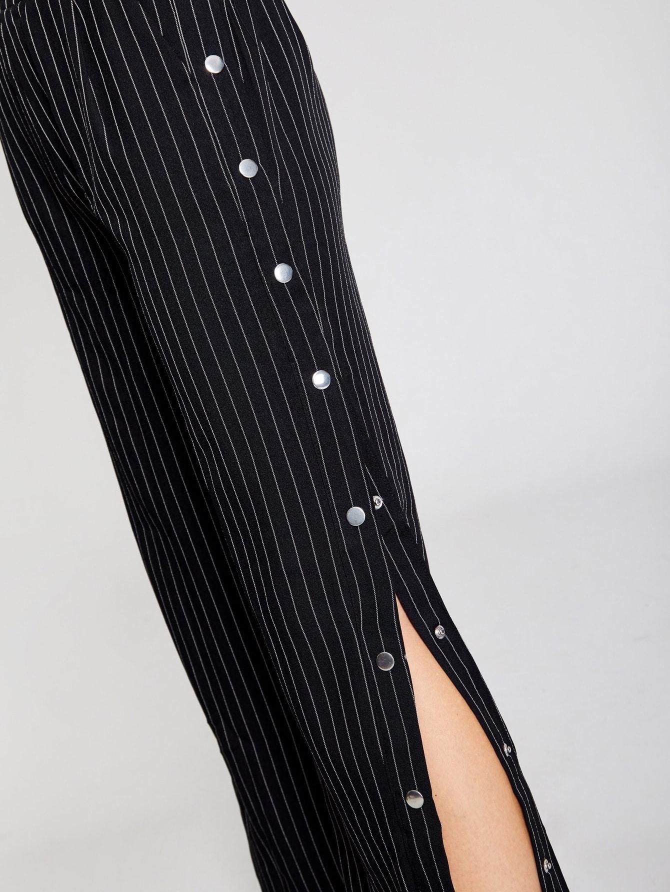 pantalon ray boutons pression sur les c t s shein. Black Bedroom Furniture Sets. Home Design Ideas