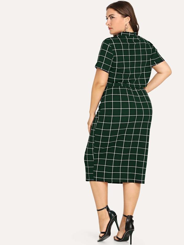 9eee74de8eb9 Plus Mock Neck Crop Grid Top & Skirt Set   SHEIN
