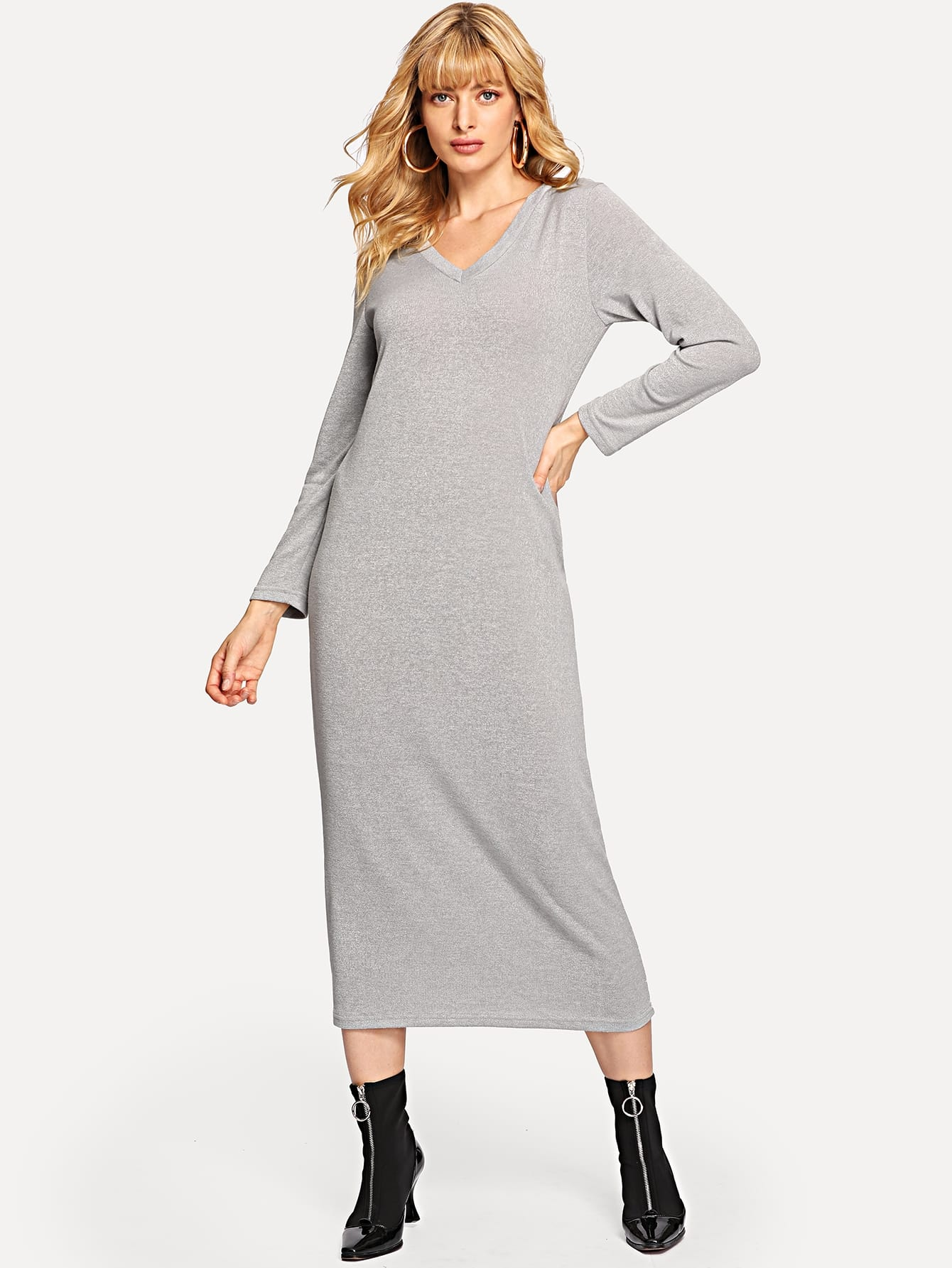Solid V-Neck Longline Dress Solid V-Neck Longline Dress