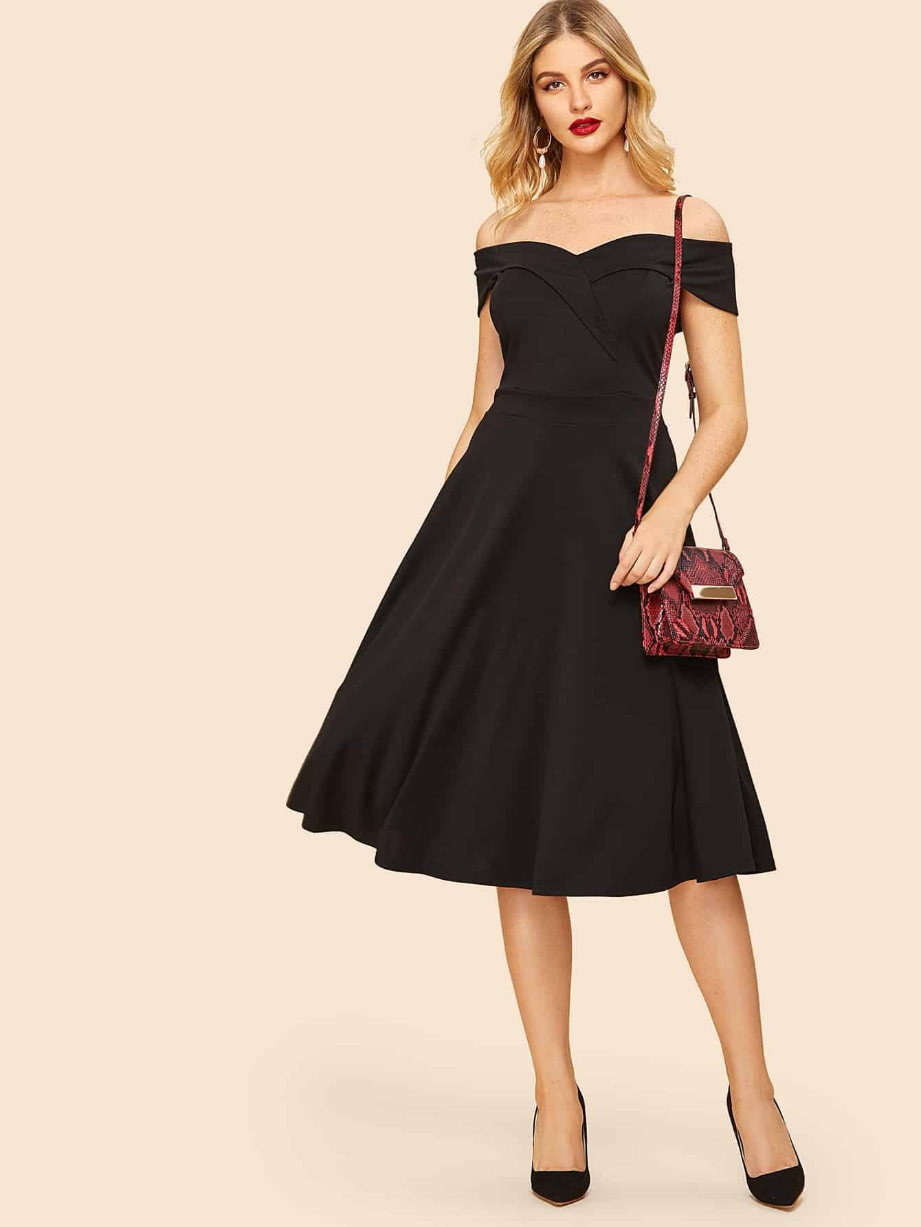 70s Off The Shoulder Flared Dress 70s Off The Shoulder Flared Dress