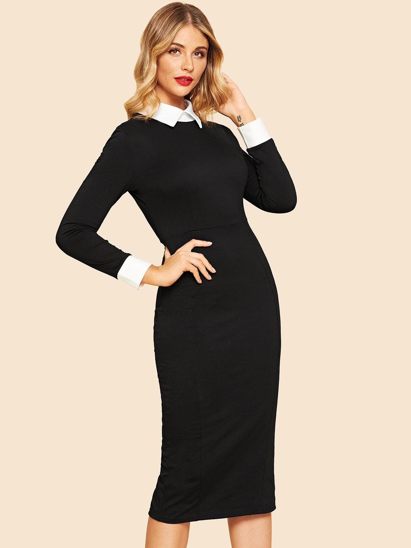 70s Colorblock Contrast Collar Dress 70s Colorblock Contrast Collar Dress