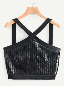 Zip-up Sequin Straps Top