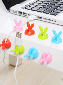 Random Color Rabbit Ear Data Line Holder 4pcs