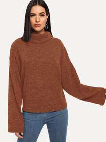 Solid High Neck Drop Shoulder Sweater