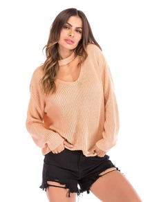 Solid Choker-Neck Jumper