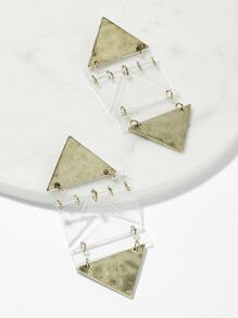 Hammered Triangle Geometric Drop Earrings 1pair