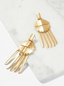 Hammered Round Bar Fringe Drop Earrings 1pair