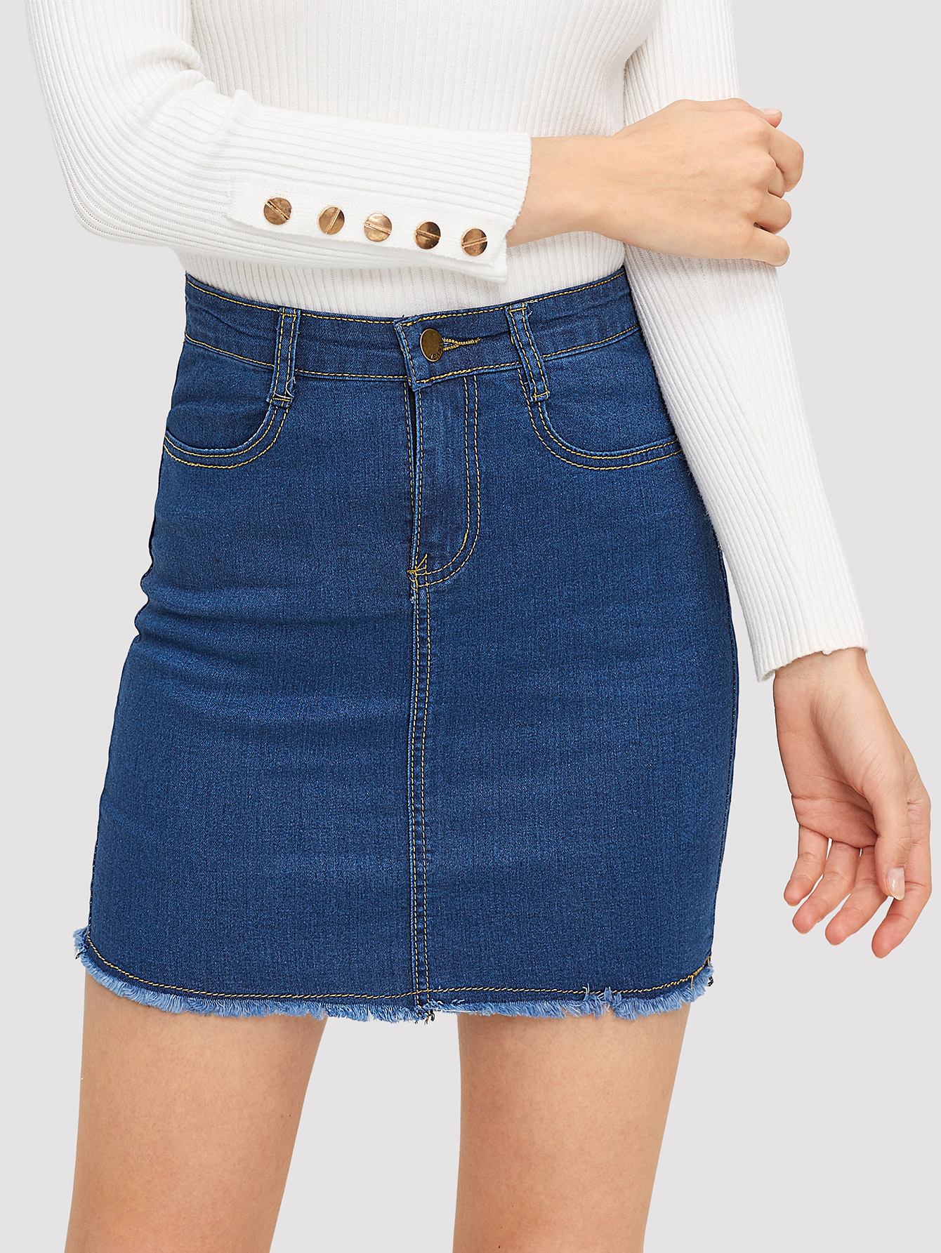 Raw Hem Stitch Detail Denim Skirt Raw Hem Stitch Detail Denim Skirt