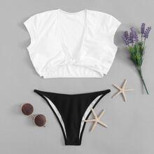 SHEIN   Twist Front V Neck Two Piece Swimwear   Goxip