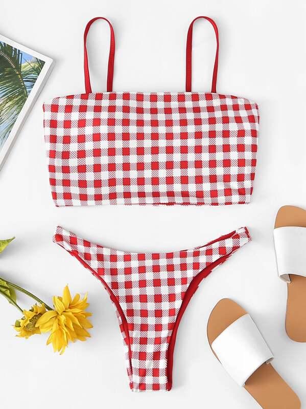 390129138f66d Cami Gingham Print Top With High Leg Bikini Set | SHEIN