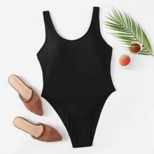 Plain Low Back One Piece Swimwear
