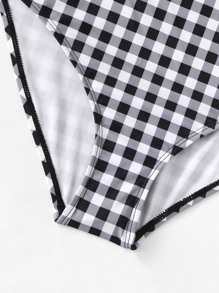 76af3bc55e9d2 Gingham Hollow-out One Piece Swimsuit | SHEIN