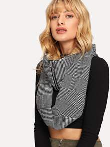 Zipper Decorated Houndstooth Infinity Scarf