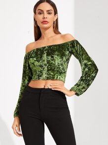 Off Front Button Crop Velvet Top