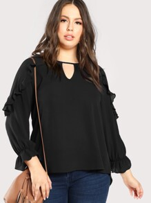 Plus Ruffle Accent Keyhole Neck Top