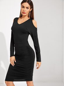 Cold Shoulder Ruched Bodycon Dress