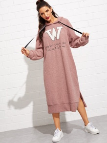 Letter Embroidered Split Hem Teddy Hooded Dress